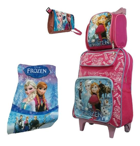 Kit Mochila Infantil Feminina Frozen Rodinha Lancheira Rosa
