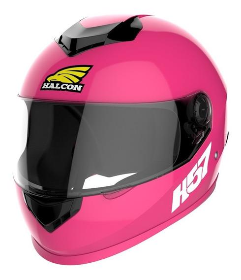 Casco para moto integral Halcon H57 rosa talle L