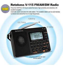 Radio Retekess V-115 Am/fm/sw Mp3 Play Display Lcd C/bateria