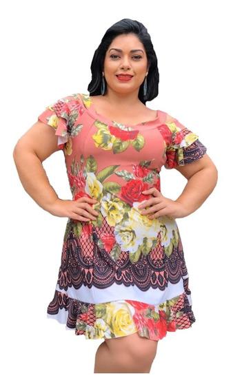 Vestido Feminino Plus Size Verão Tamanho Grande Estampado Gg