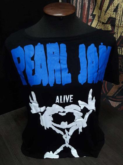 Camiseta Pearl Jam Feminina Alive Canoa Viscose Show Malhas