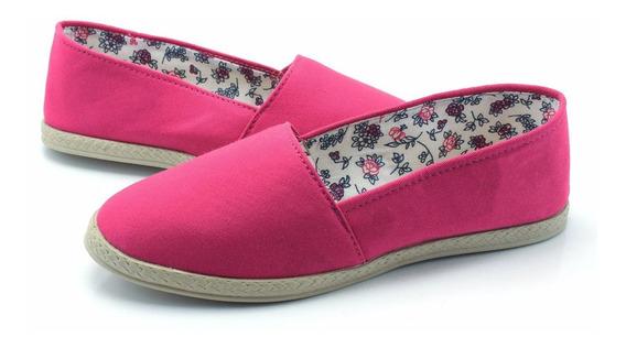 Alpargatas Femininas Sapatilhas Rosa Tecido Pano Confortável