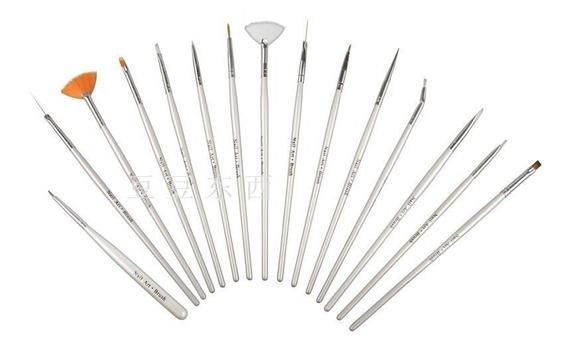 Set Pinceles X 15 Para Decoración Uñas - Nail Art