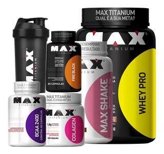 Combo Emagrecimento Whey Pro Shake Termogenico Max Titanium