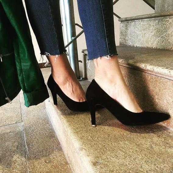 Stilettos Zapatos Con Taco Fino Cuero De Cabra Gamuzado