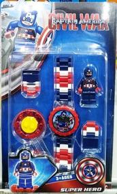Relógio Infantil Pulseira Personagem Capitão América Lego