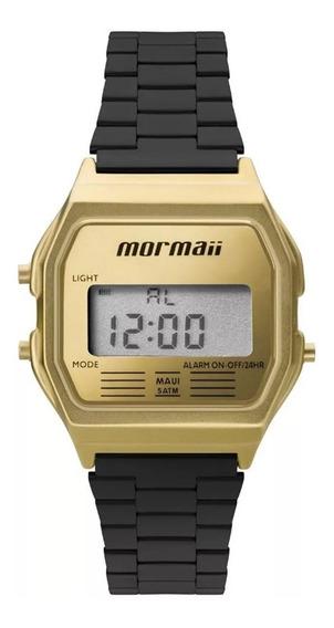Relógio Mormaii Dourado/preto Mojh02ak/4d Quadrado Original