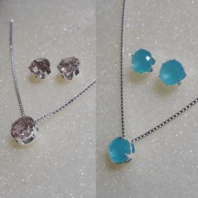 2 Conjuntos Zircônias Fusion Pêssego E Leitosa Azul Tiffany