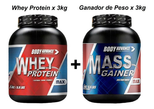 Whey Protein X 3kg + Mass Gainer X 3 Kg. Body Advance