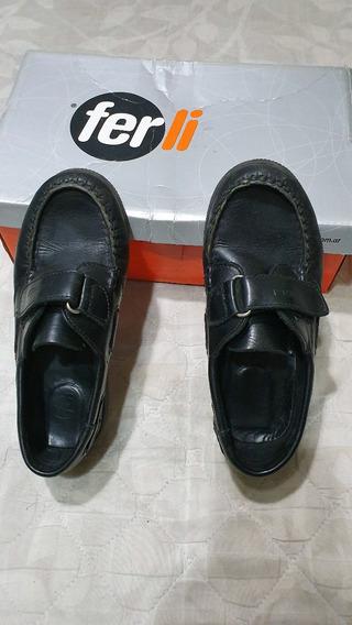Zapatos Mocasin Colegial Ferli Color Negro T 32