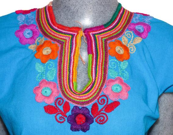 Blusa Bordada A Mano De Chiapas / Talla S / Celeste / M005 L