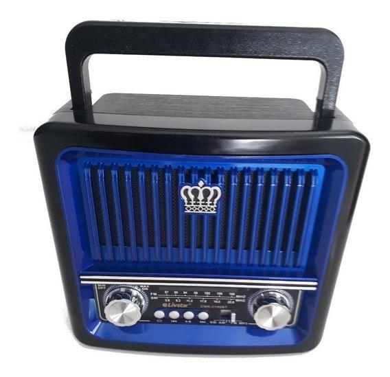 Rádinho Caixa Som Portatil Retro Antigo Fm-am-sw Bluetooth