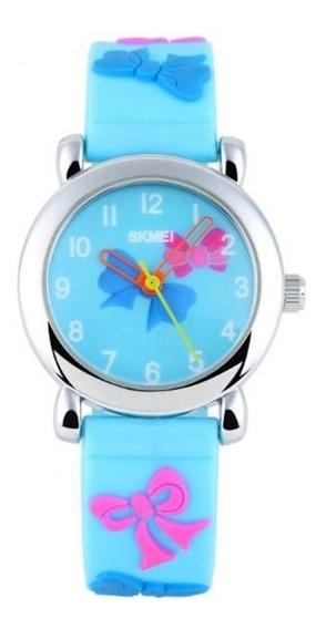 Relógio Infantil Skmei 1047 Analógico Azul Claro Com Nf