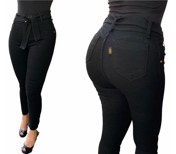 Calça Jeans Feminina Capri Cintura Alta Com Laço