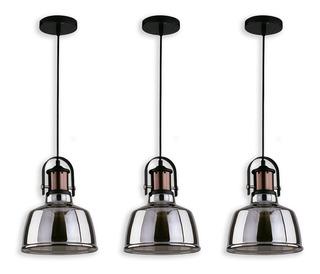 Lámpara Colgante Vintage Ahumado Base Cobre 1 Luz 3 Pack