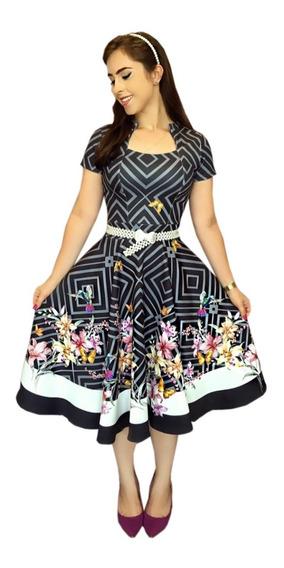 Vestido Gola Princesa Estampado Rodado Moda Evangélica