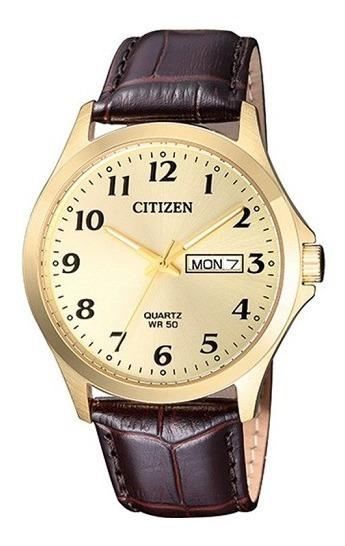 Relógio Masculino Citizen Couro Marrom Com Calendário