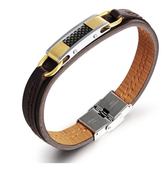 Pulseira Bracelete Ouro Masculina Couro Aço Inox Lxbr P143