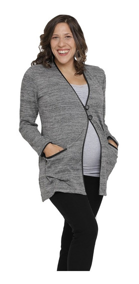Saco Embarazada Maternal De Lanilla Con Cuero