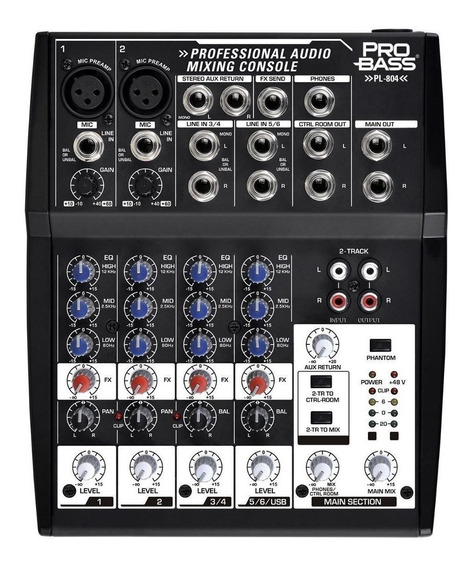 Consola Probass Analogica 8 Canales Pl 804 Usb Musica Pilar