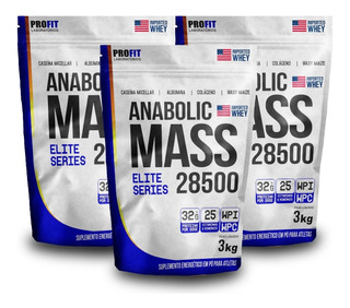 Combo 3x Hipercalórico Anabolic Mass 28500 - 3kg - Total 9kg