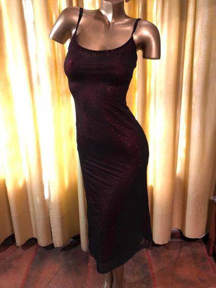 Vestido De Fiesta Mujer Medio Brillante Doble Capa