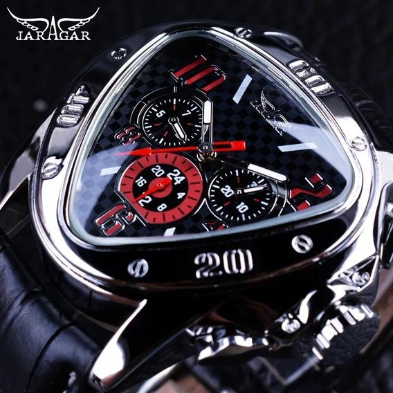 Relógio Jaragar Sport Racing Geométrico Mecânico Automático