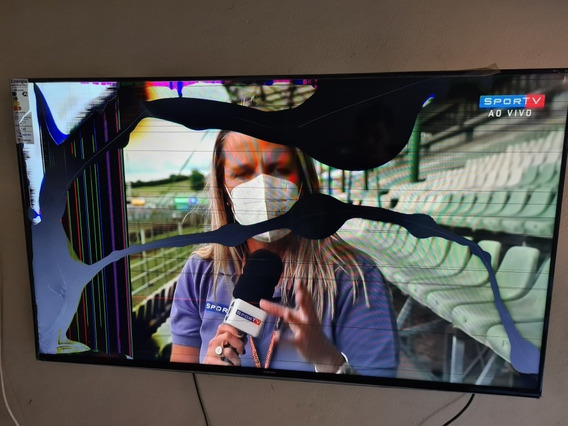 Tv Samsung 55 Pol. Un55h6300ag Funciona Porém Tela Quebrada.