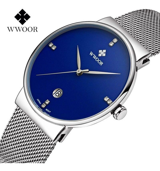 Wwoor Relógio Analógico Masculino Redondo Original Lazer