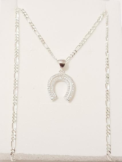 Collar De Herradura Zirconias Plata Y Envio Gratis Cp03