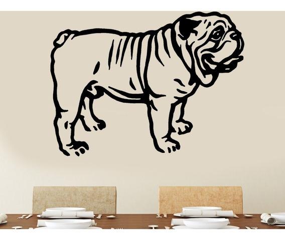 Adesivo De Parede - Bulldog Inglês Cachorro Dog Cão Pets