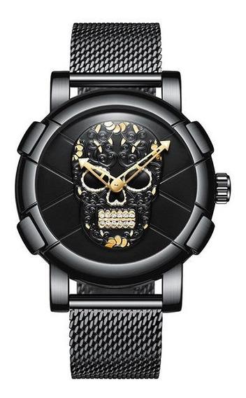 Relógio Biden 0086 3d Skull Rave Style
