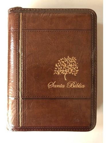 Imagen 1 de 1 de Biblia De Bolsillo, Con Cierre Rvr1960 Imitación Piel Cafe