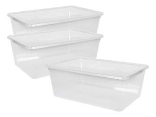 Cajas X3 Organizadora Transparente Plástica Apilable 10 Lts.