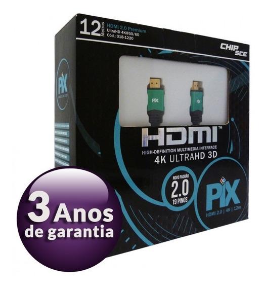 Cabo Hdmi 12 Metros 2.0 4k Ultra Hd 3d 19 Pinos 018-1220