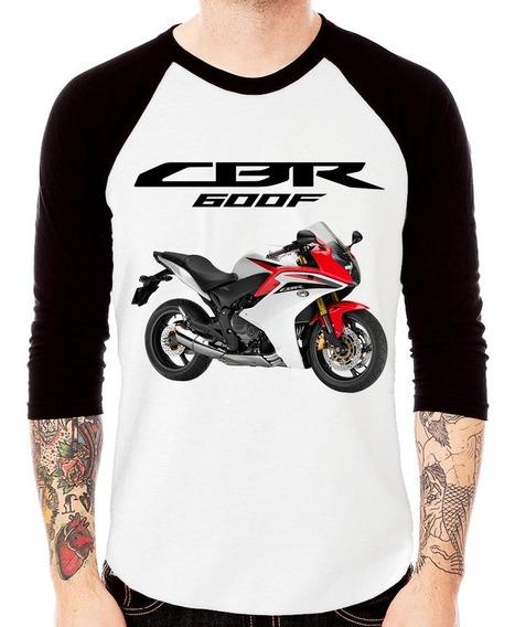 Camiseta Raglan Moto Honda Cbr 600f Branca 3/4