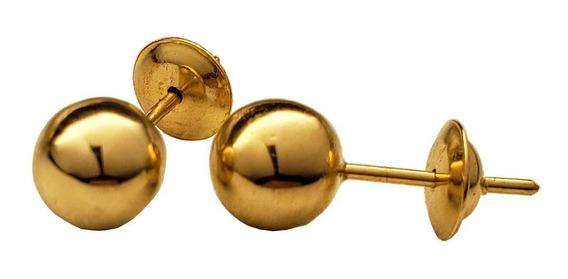 Brinco Bola De Ouro 18k 5mm