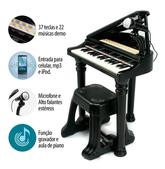 Piano De Brinquedo Teclado Infantil Microfone E Banquinho