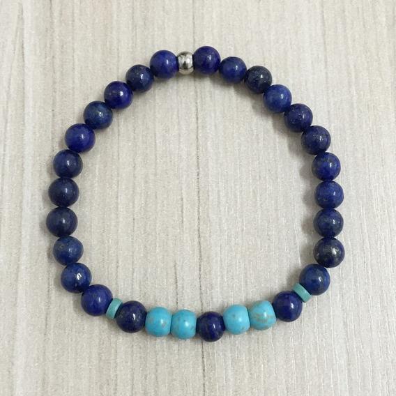 Pulseira Masculina Pedras Naturais Lapis Lazuli E Turquesa