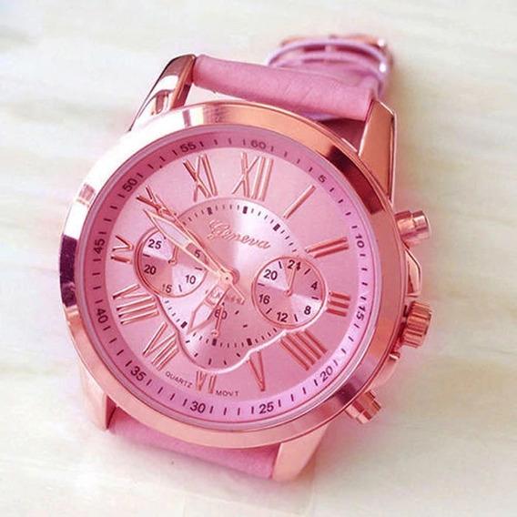 Relógio Feminino Geneva Platinum Rosa + Brinde Bateria Sony