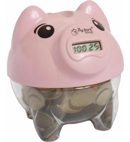 Cofre Cofrinho Porquinho Digital Pig Bank Conta Moeda Rosa