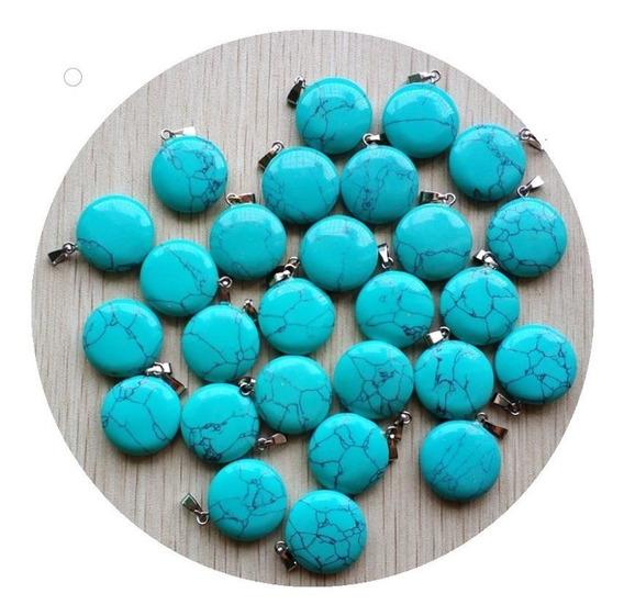 Turquesa Azul Natural Dije Circular Unisex Tamaño 2cm