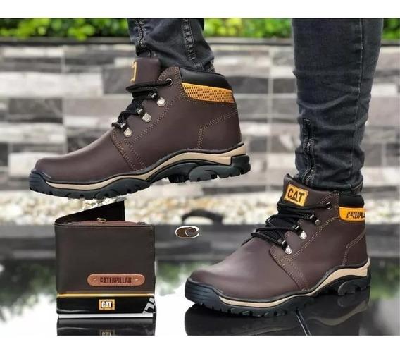 Zapatos Hombre+billetera Caterpillar, Botas 100% Cuero Hombr