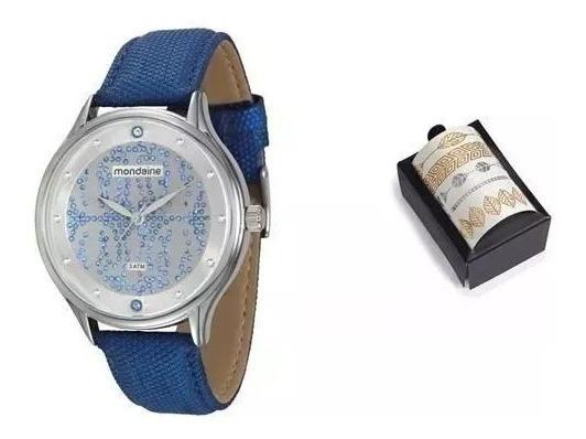 Kit Relógio Feminino Analógico Mondaine 76441l0mgnh1k Azul