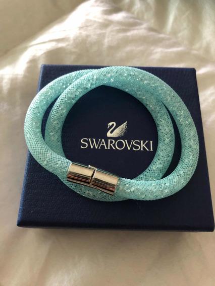 Pulsera Swarovski Azul Oringinal Con Caja