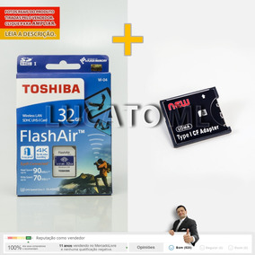 Sd Wifi 32gb Toshiba W04 + Adaptador Sd P/ Compact Flash 12x