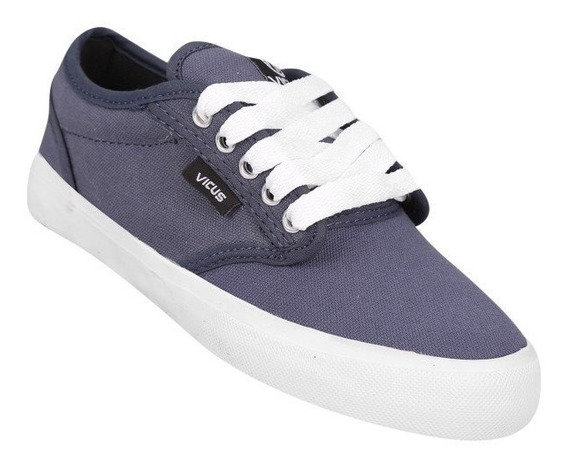 Zapatillas Vicus Canvas Folk Gris Y Celeste