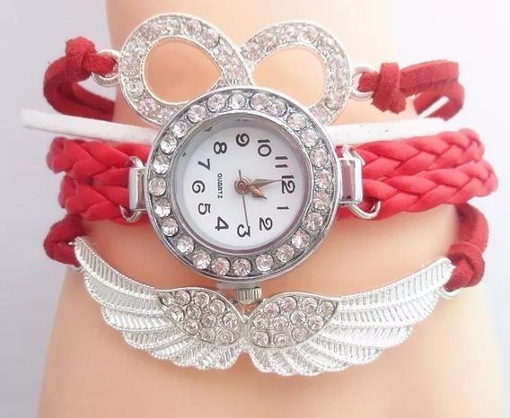 Relógio Feminino Com Pulseira Vermelho