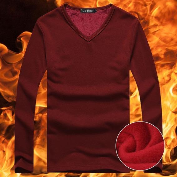 Blusa Camiseta Veludo Gola V Masculina Inverno Red