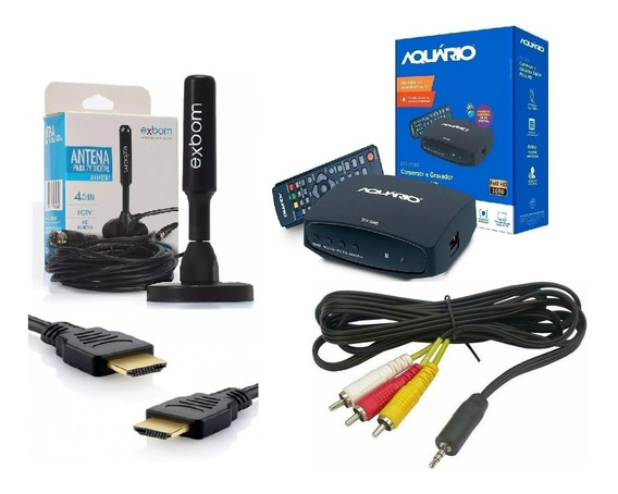 Kit Conversor Digital + Antena Full Hd Interna + Cabo Hdmi